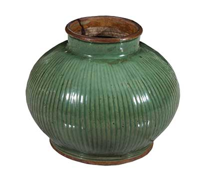 A celadon earthenware jar