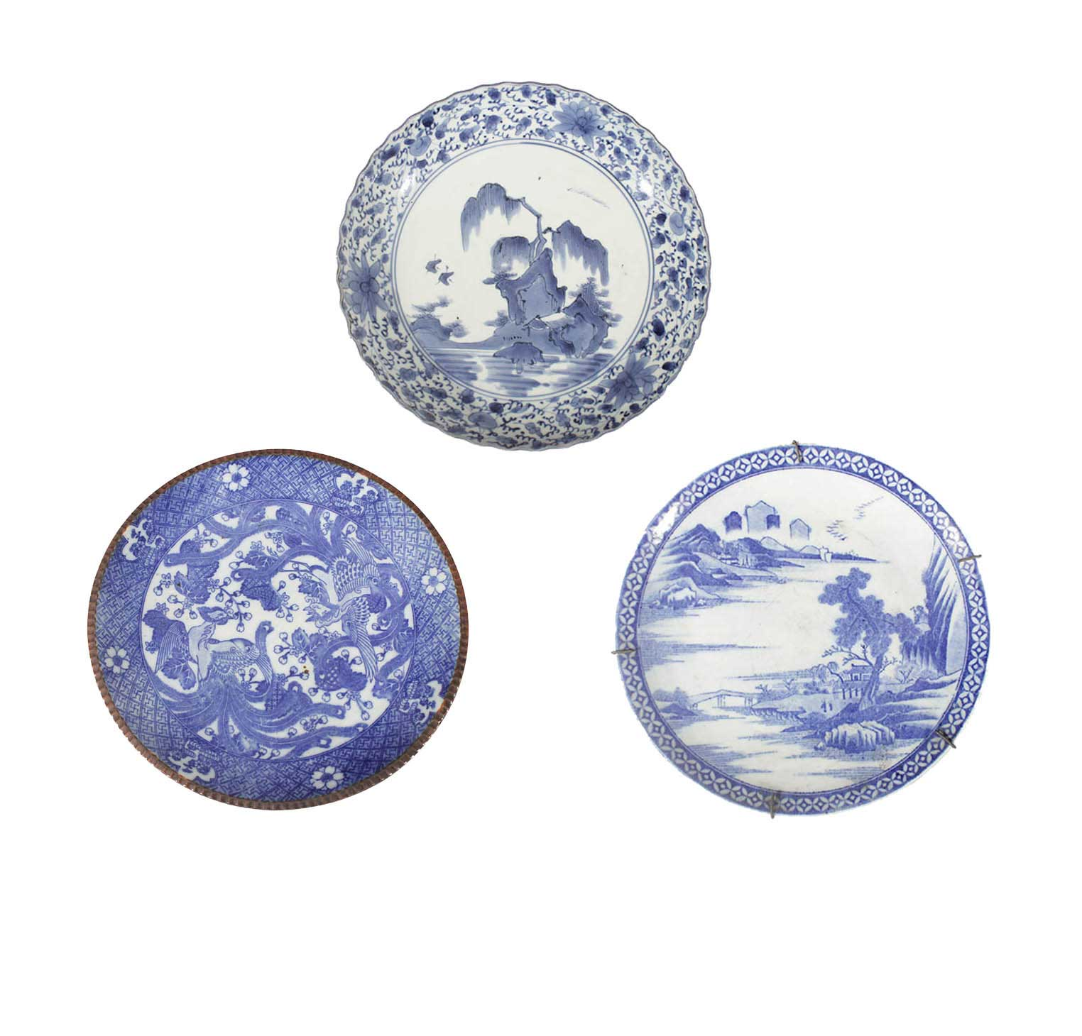 Three pieces Japanese blue and white dishes