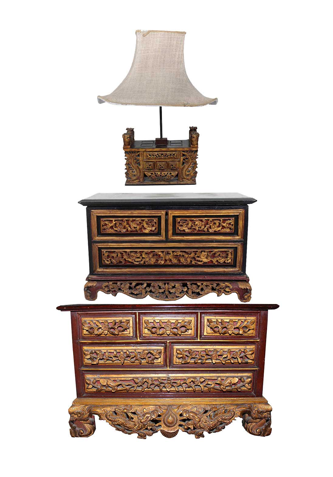 A set of three wooden brown gilt chest multi-drawers brown and gold botekan chest