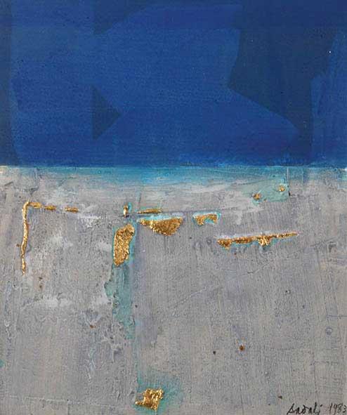 Horizon Biru dengan Bercak Emas