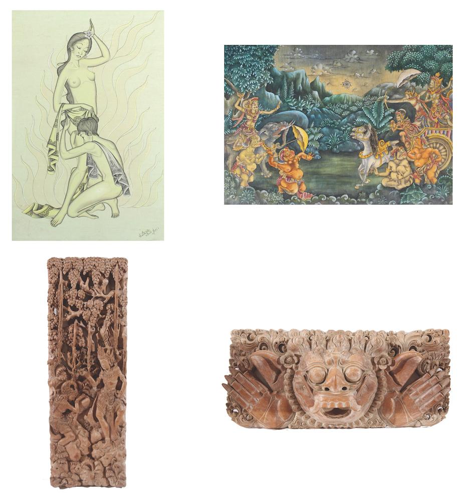 Sana. G, and Balinese school dan Two pcs Wood Carving